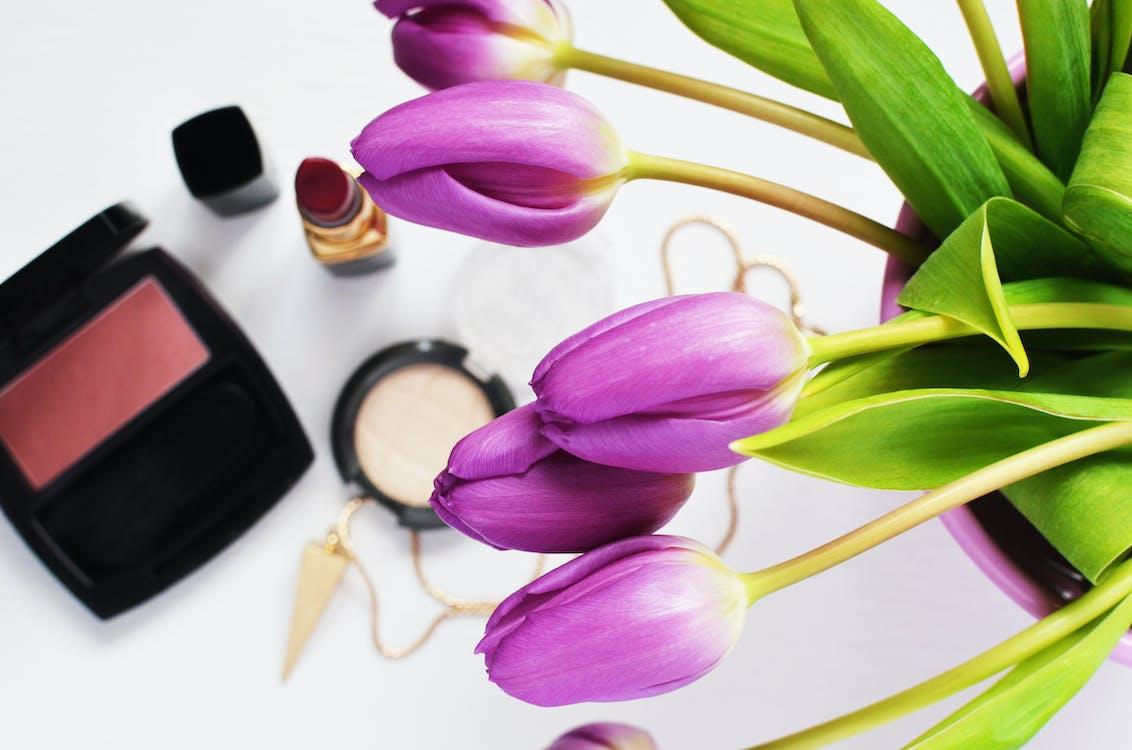 Purple Tulips Above Red Lipstick