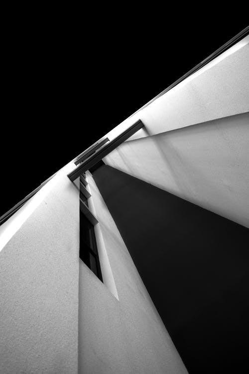 Low Angle Shot Of A Black And White Building