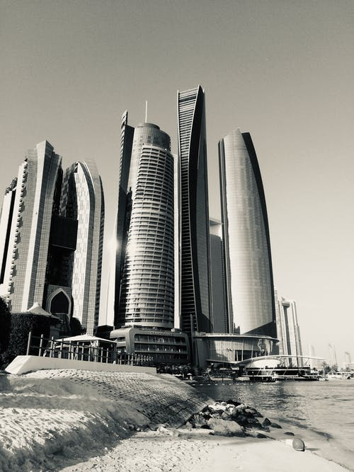 Free stock photo of abu dhabi, beach, black and white, building