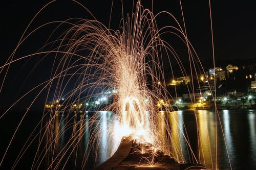 Free stock photo of adriatic sea, city night, steel wool photography