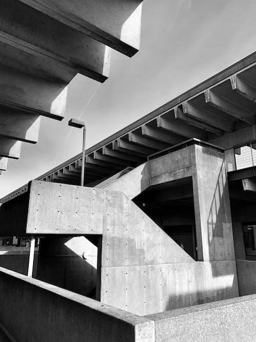 คลังภาพถ่ายฟรี ของ กลางวัน, การก่อสร้าง, การออกแบบสถาปัตยกรรม, ขาวดำ