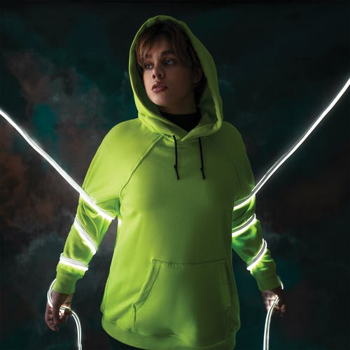 Person Wearing Green Pull-over Hoodie