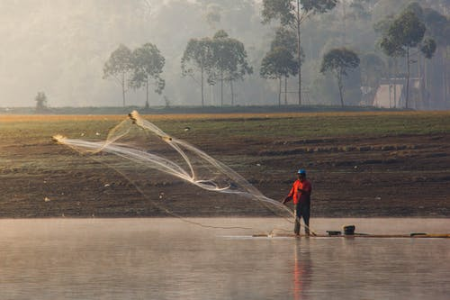 Free stock photo of early morning, everyday people, fisherman, foggy morning