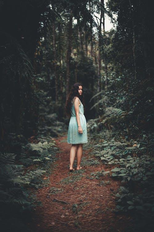 Woman in Blue Sleeveless Dress Walking Between Green Trees Inside Forest