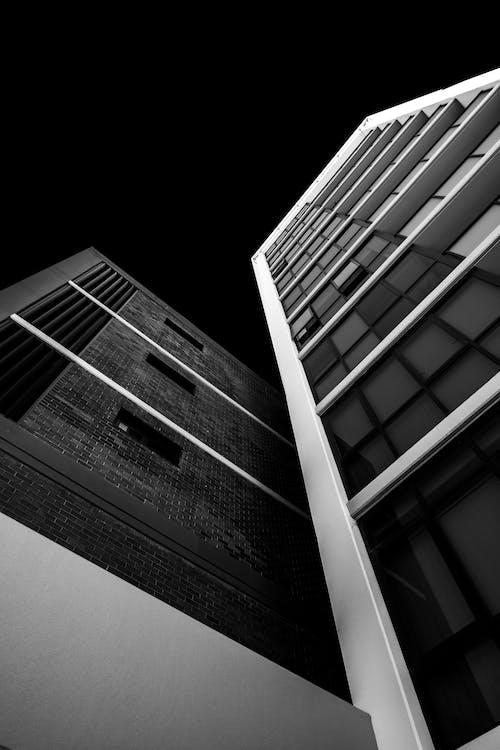 architektura, budovy, černobílý