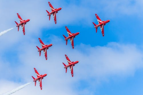 Free stock photo of airplanes, red arrows