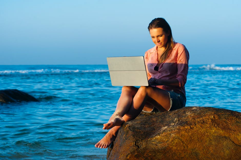 Beach lady laptop leisure