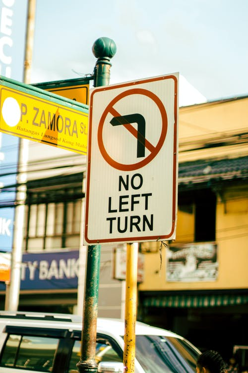 Photo of No Left Turn Signage