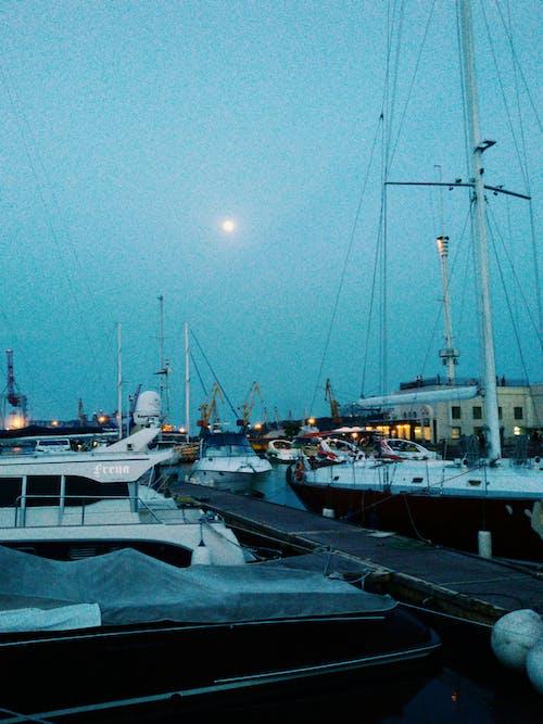 #akşam, #deniz, #liman, #moon içeren Ücretsiz stok fotoğraf