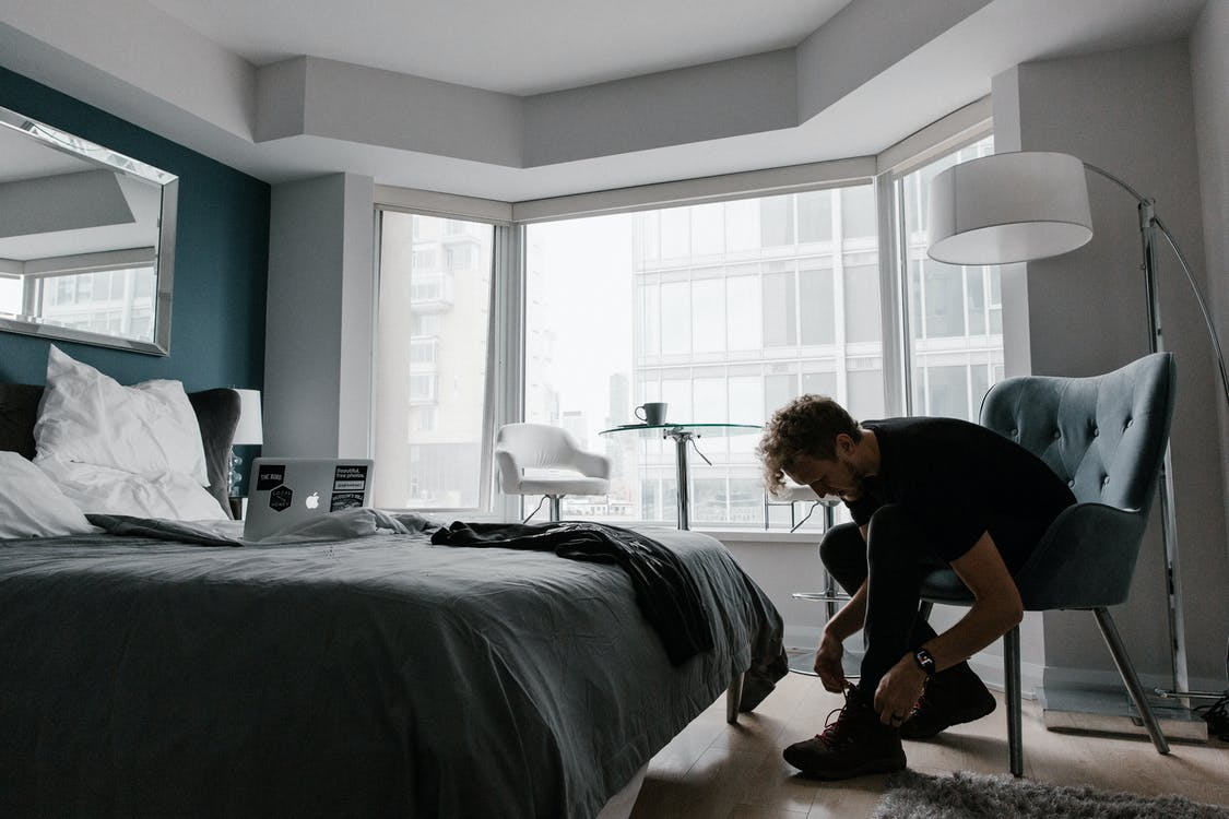 Man Wearing Black Crew-neck Shirt and Black Jeans, Routine, Morning Routine