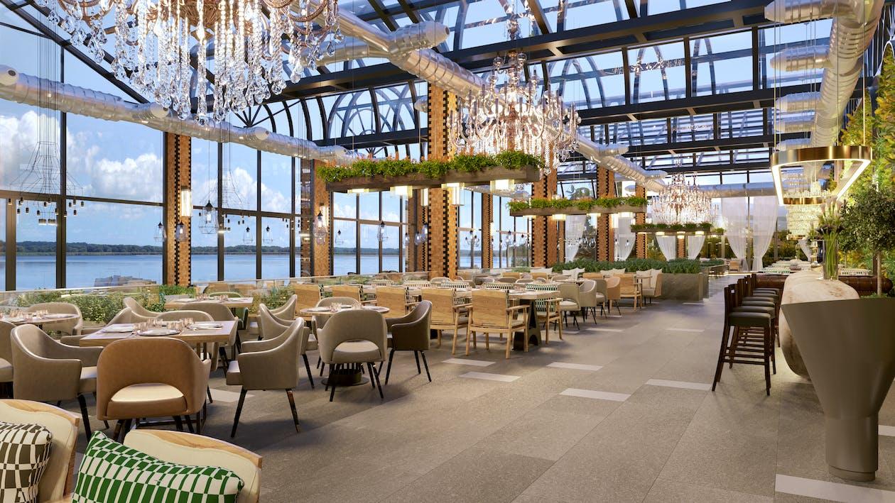 Diseño Interior De Un Restaurante Con Paredes De Cristal