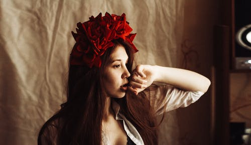 Photography of a Woman Wearing Red Flower Headdress
