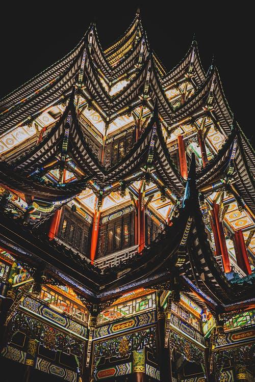 Illuminated Asian building at night time