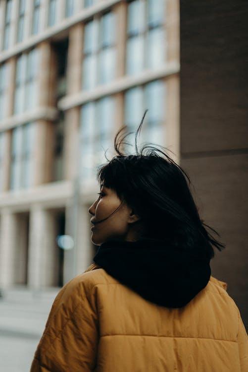 ablak, álló kép, ázsiai nő