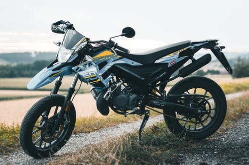Gray Dual Sport Motorcycle