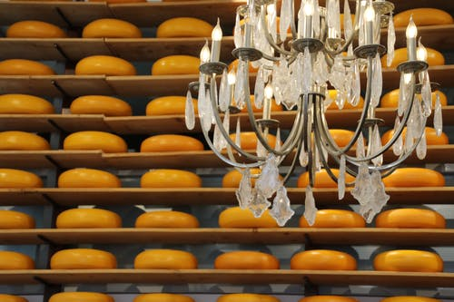 Free stock photo of chandelier, cheese, dutch