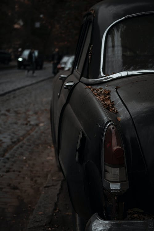 Free stock photo of abandoned, autumn, black-car, car