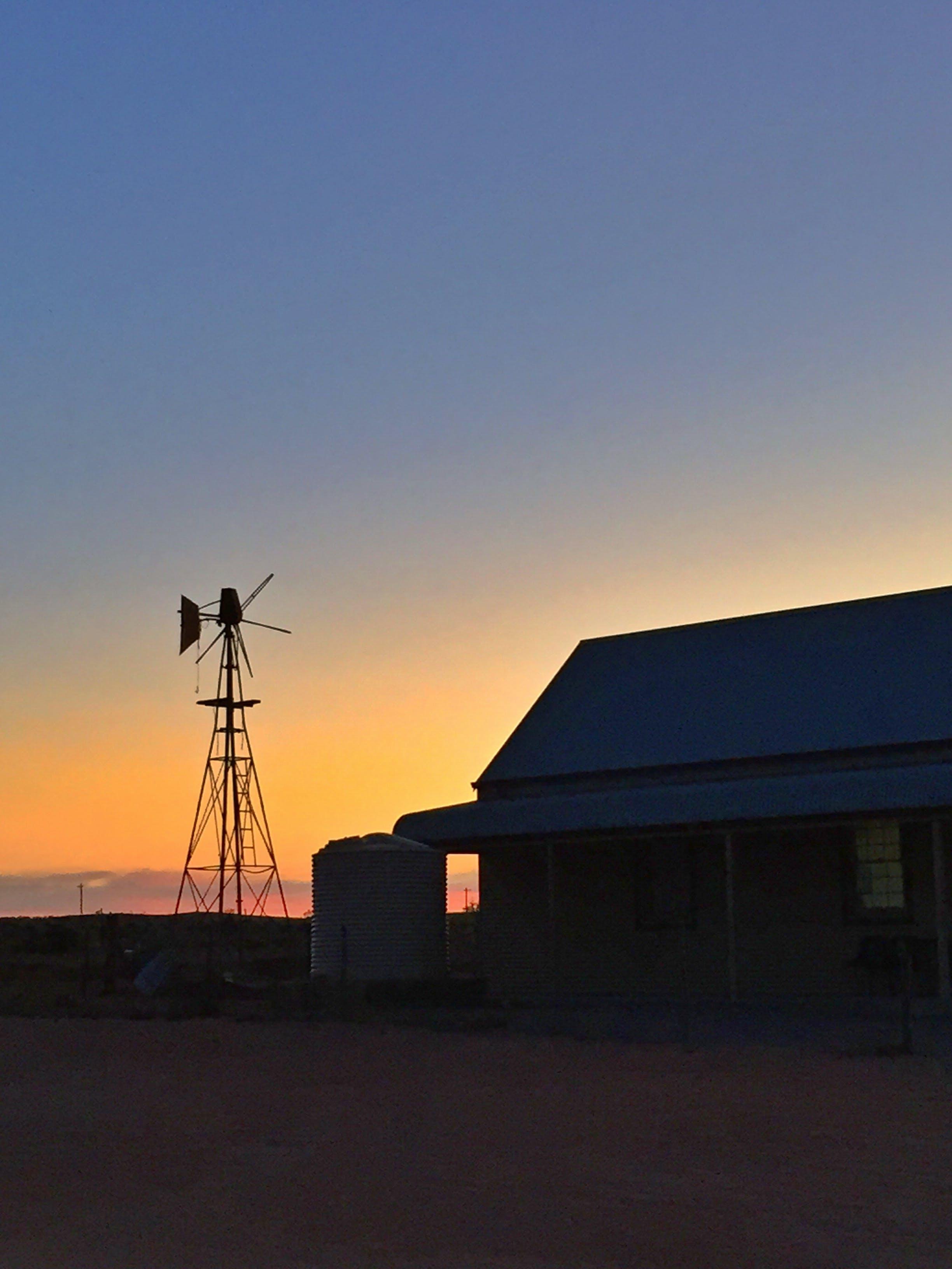 Free stock photo of sunset, desert, silver, windmill