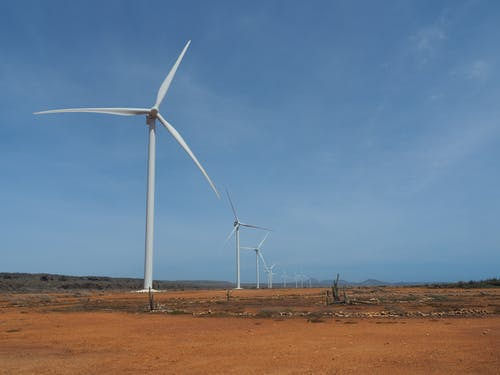Free stock photo of dry land, windmills