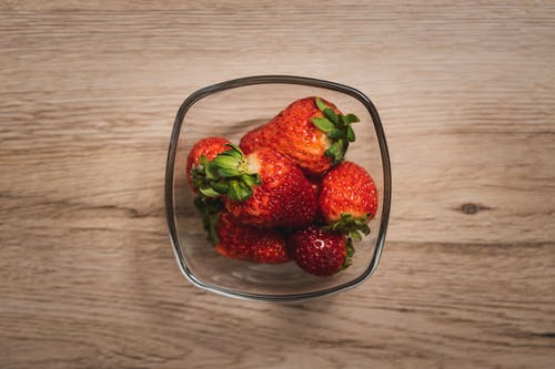 Strawberry Fruits in Glass Bowl