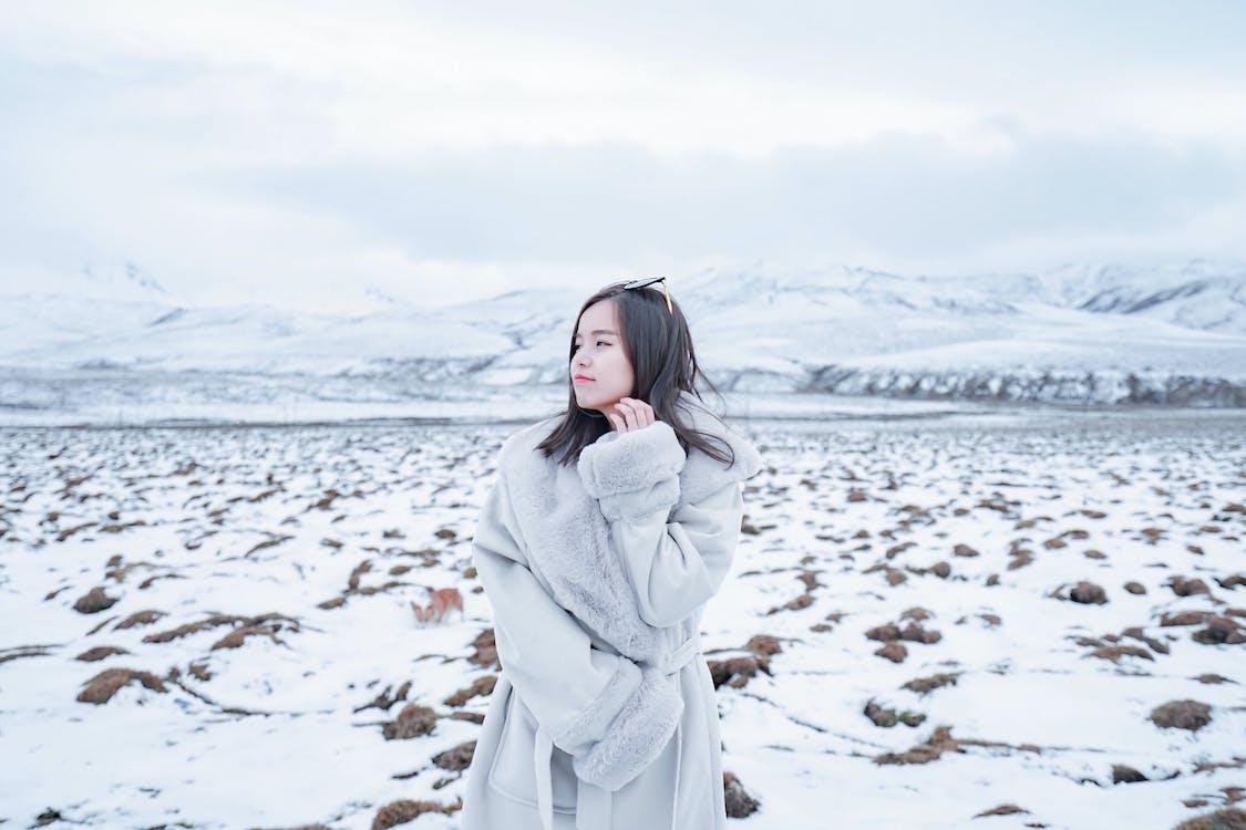 Woman Wearing Grey Coat