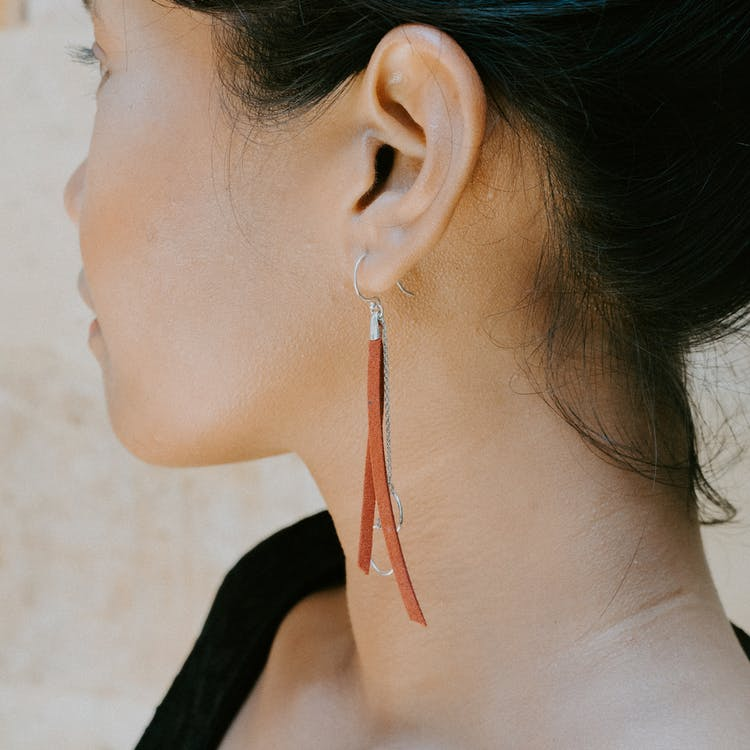 Woman Wearing Drop Earring