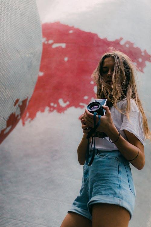 appareil photo, femme, individu