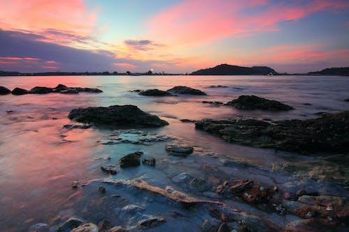 シースケープ, ビーチ, 夕方, 夜明けの無料の写真素材