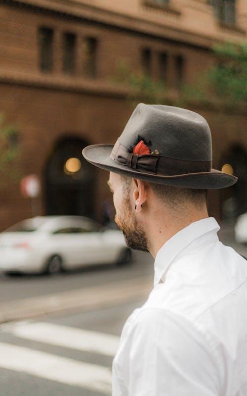 Man Wearing White Dress Shirt and Gray Cowboy Hat