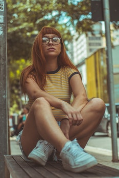 Free stock photo of bench, fashion, person, woman
