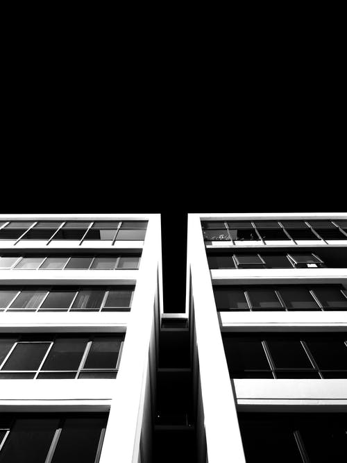 Monochrome Photo of Multi-Storey Building
