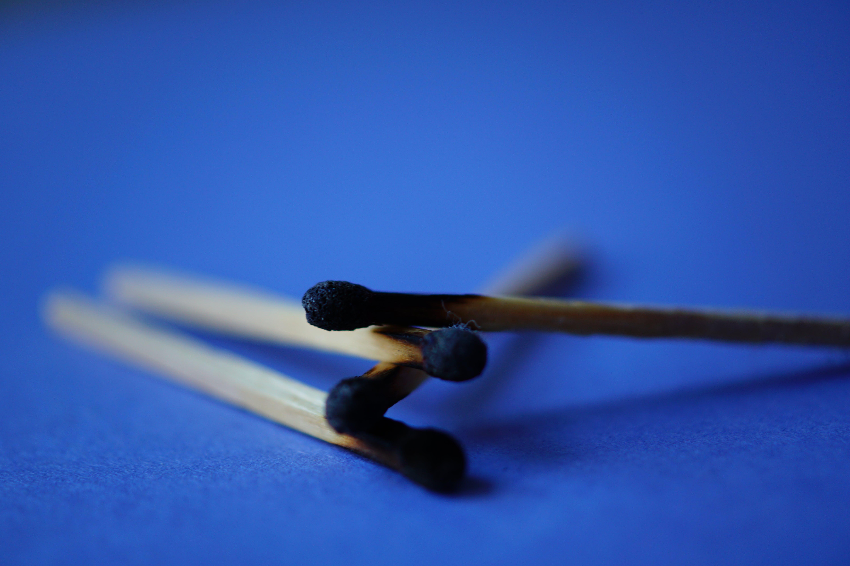 Three Used Matchsticks