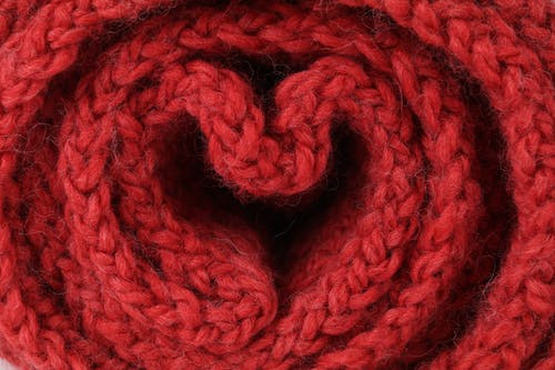 Free stock photo of heart shaped, knitwear, red