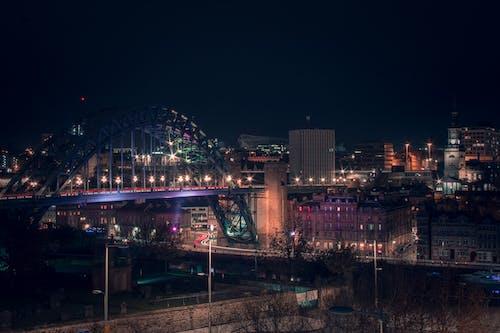 거리 사진, 다리, 도시의 밤, 도시의 불빛의 무료 스톡 사진