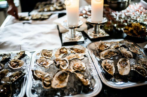 Tray of Oysters on Table