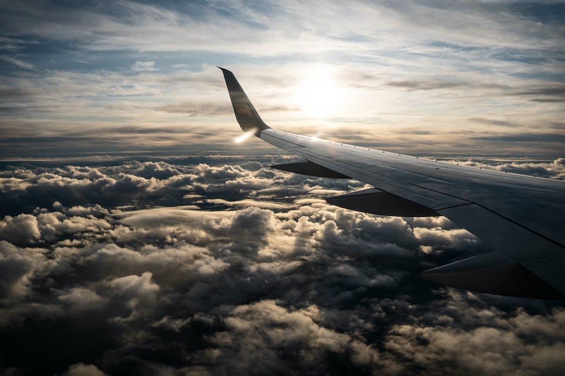 airplane, clouds, sky