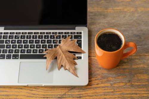 Orange Mug Near Macbook