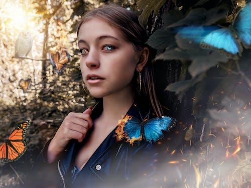 Free stock photo of alone, beautiful girls, beauty, butterfly