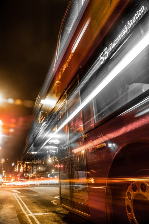 Long Exposure of Double-Decker Bus
