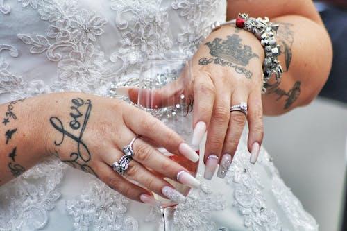 Free stock photo of bride, tattoos, wedding, wedding rings