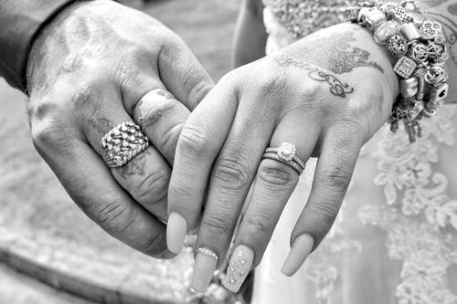 Free stock photo of Bride and Groom, hands, tattoos, wedding