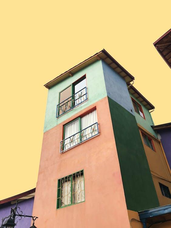 architecture, architecture moderne, arrière-plan jaune