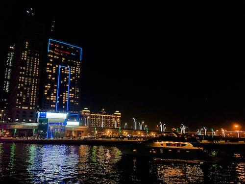Základová fotografie zdarma na téma architektonický návrh, budova, Dubaj, noc