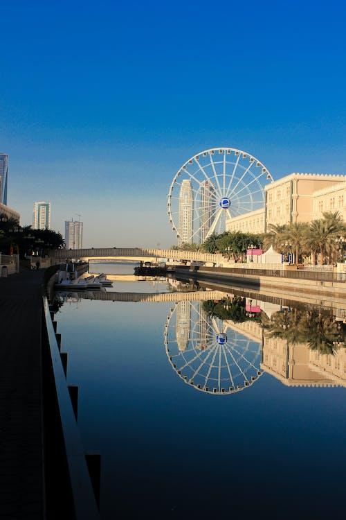 Základová fotografie zdarma na téma Dubaj, giantwhell, modrá, modrá obloha