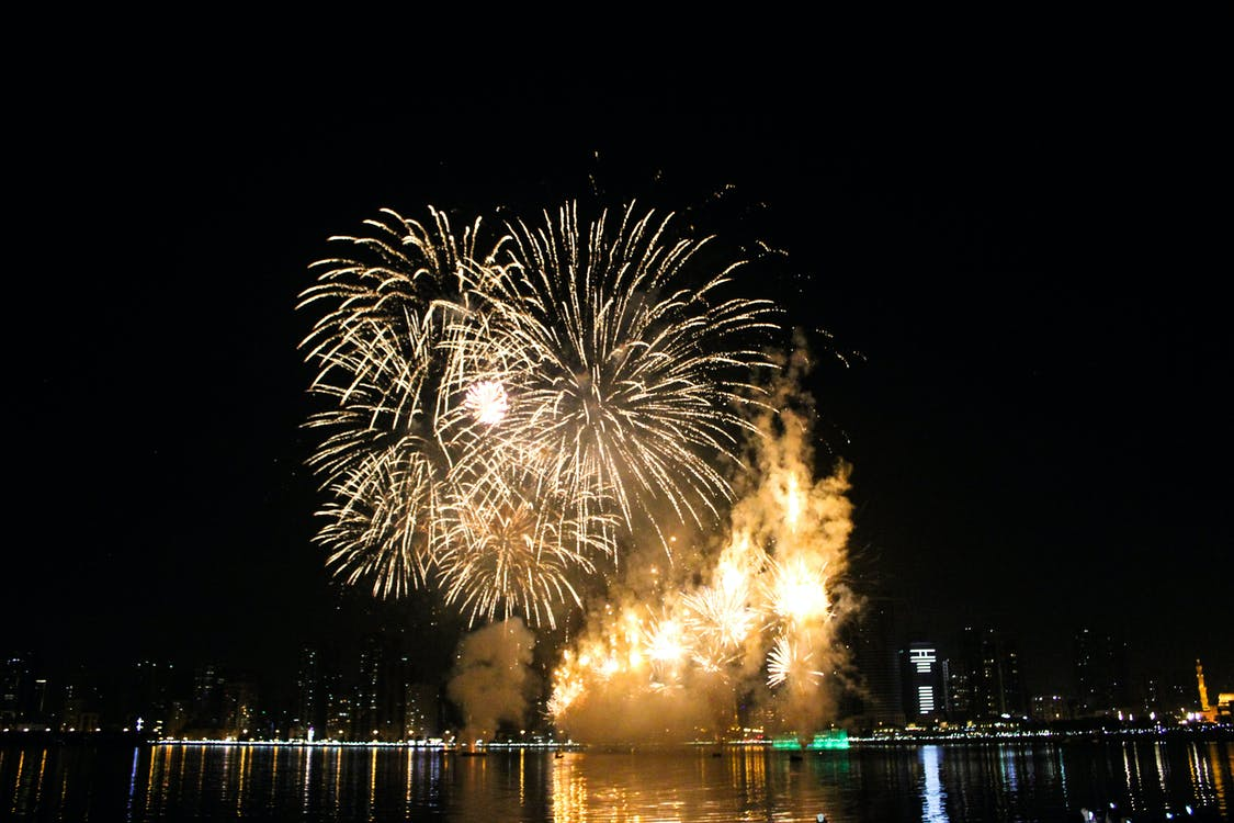 Dubaj, nový rok, ohňostroj