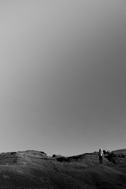 Monochrome Photo Of Person Standing On Desert