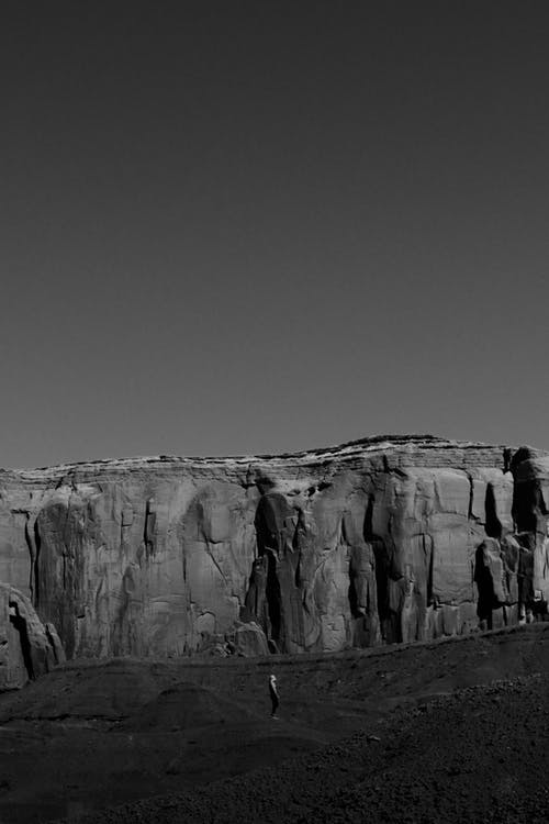 Monochrome Photo of Rock Formation