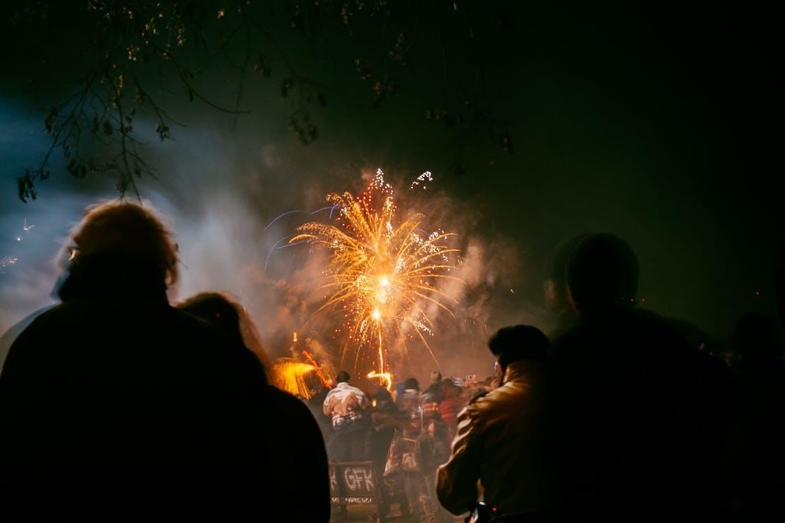 Crowd Watching Fireworks Display