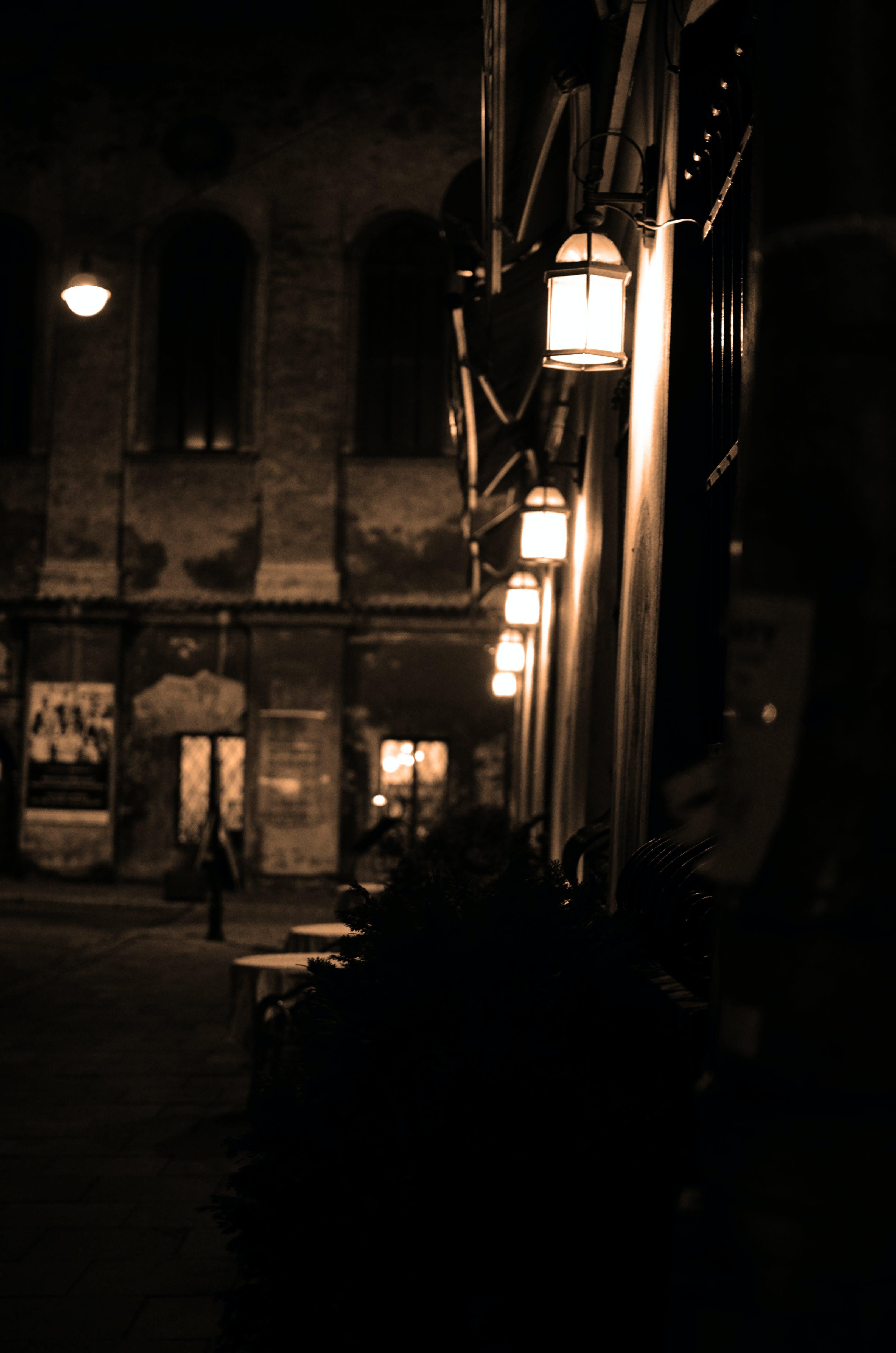 black-and-white, dark, lights