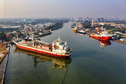 강, 강가, 공중 촬영, 도시의 무료 스톡 사진